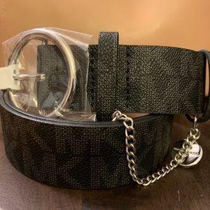 MICHAEL KORS Women's Faux Leather Monogram Belt